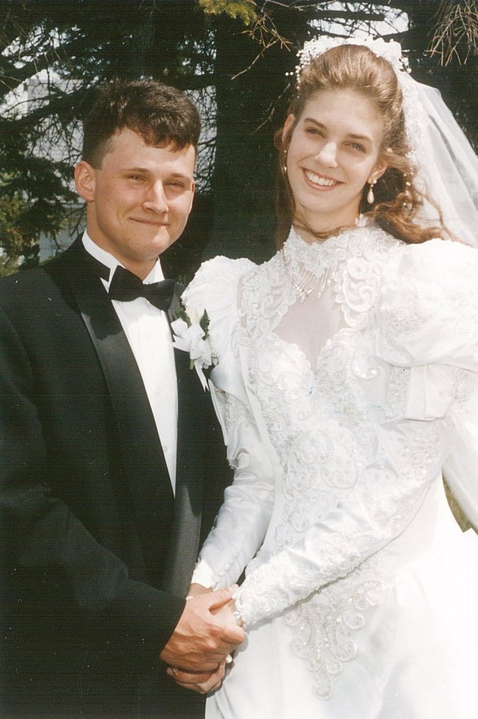 A very young me and my bride.  Best day of my life.